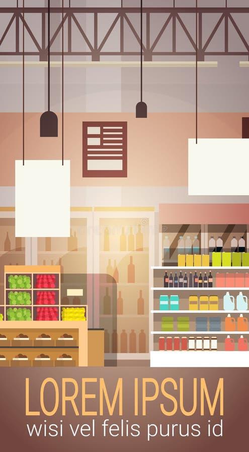 Big Shop Super Market Shopping Mall Interior. Flat Vector Illustration vector illustration