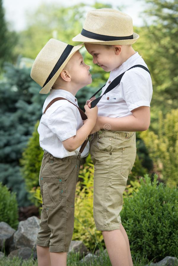 Children play, two brothers.The big showdown with young boys. stock image
