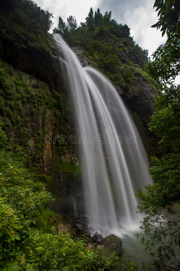 Big silky Waterfall. This is a big waterfall in Zhejiang Province, China. It is near the city of Longquan. The water is silky smooth and there is a lot of flow stock photos