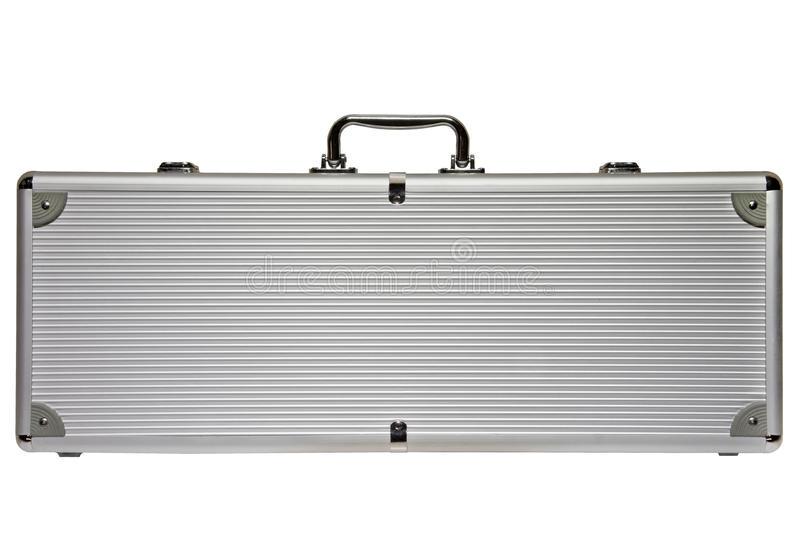 Big Silver metal briefcase isolated against a white background royalty free stock image