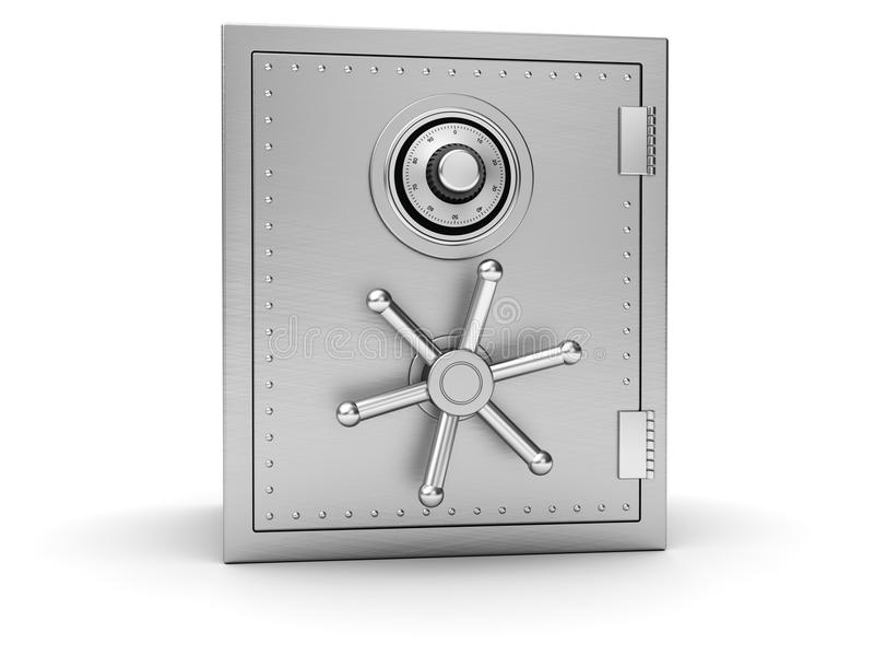 Big silver safe. On white background