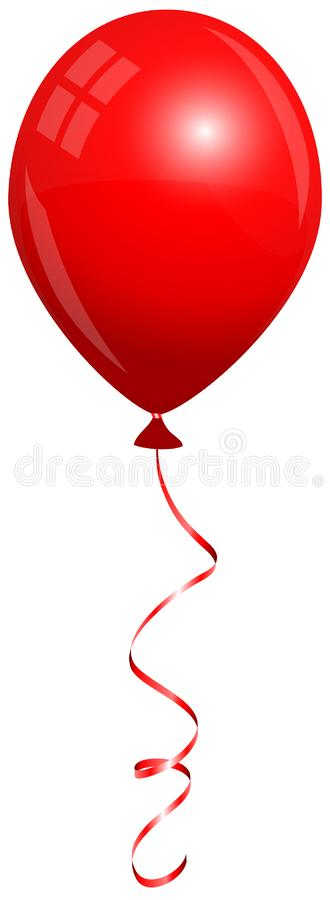 Single Isolated Red Balloon Flying With Matching String. Big Single Isolated Red Balloon Flying With Matching String royalty free illustration