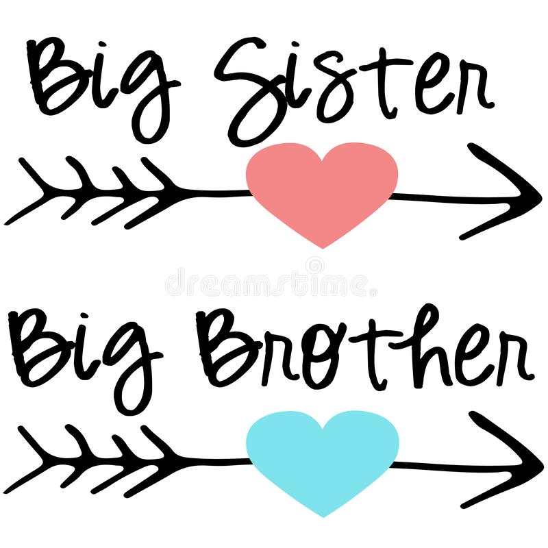 Free Big Sister Big Brother Cutting Files EPS DXF SVG Arrows Heart Stock Images - 144197994