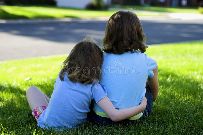 Big sister, little sister royalty free stock photos
