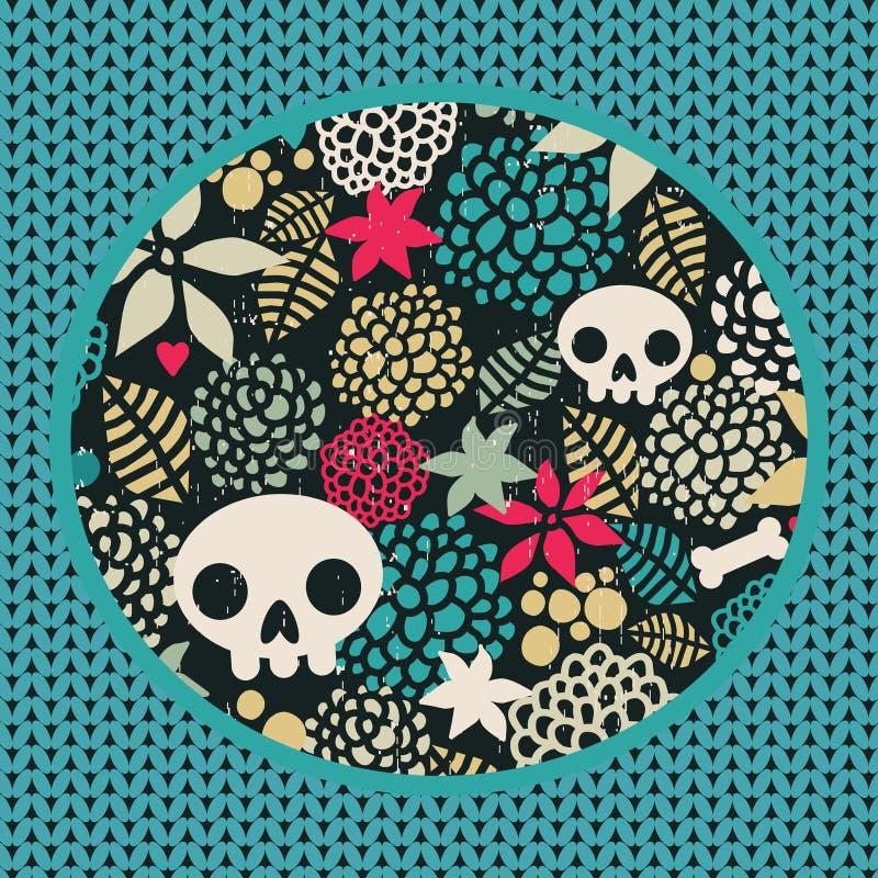 Download Big Skulls And Flowers Background. Stock Vector - Image: 32889069