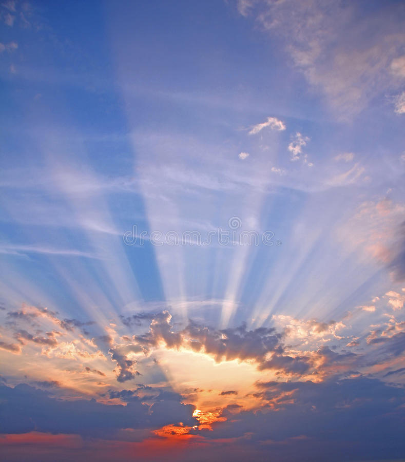 Big sky sunburst rays stock photo