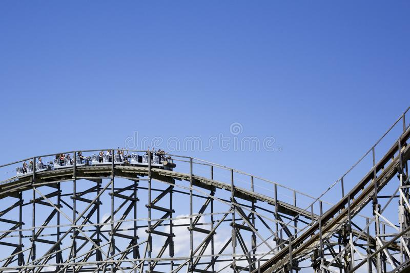 Big slope on a ride of a giant roller coaster royalty free stock image