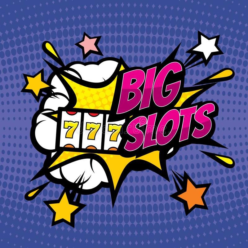 BIG SLOTS retro casino gambling vector background in pop art comic style royalty free illustration