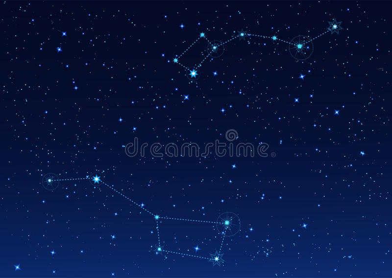 Big and Small Dipper constellation. Polar Star. Night starry sky vector illustration