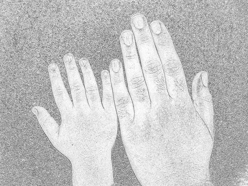 Big and small hands stock images
