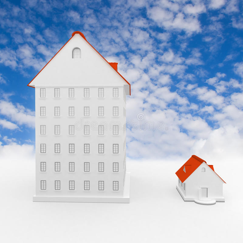 Big and small house stock illustration