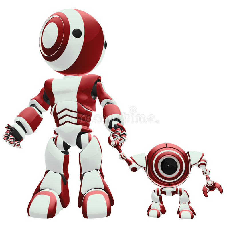 Big And Small Robots Royalty Free Stock Photo