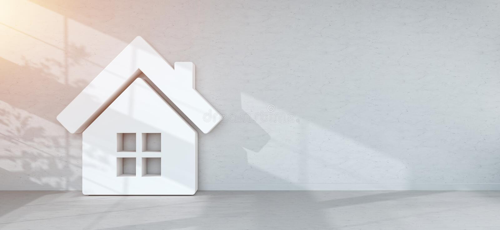 Smarthome icon in interior 3D rendering royalty free illustration