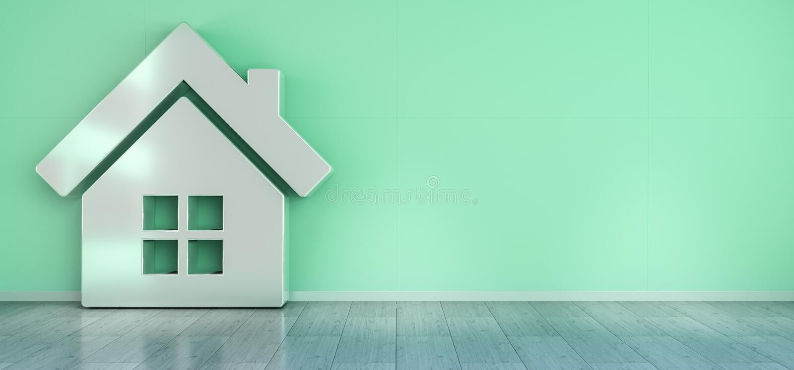 Smarthome icon in interior 3D rendering vector illustration