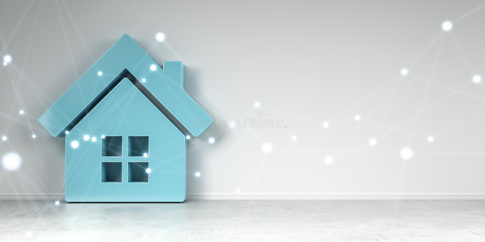 Smarthome icon in interior with connection 3D rendering stock illustration
