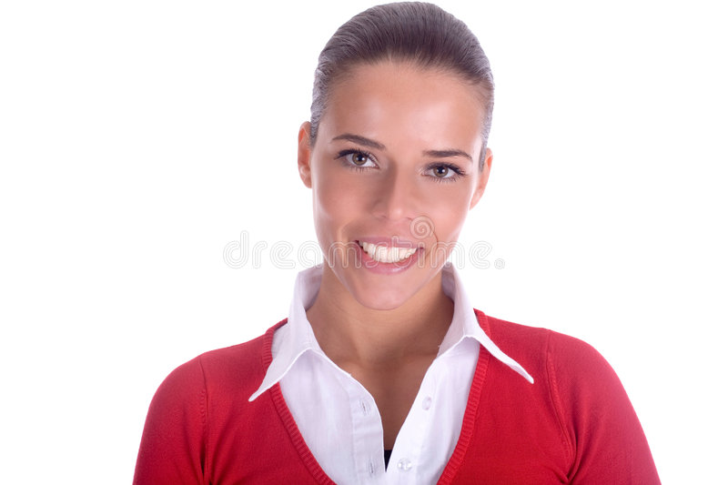 Big smile. Portrait of a woman with a beautiful smile and teeth stock photo