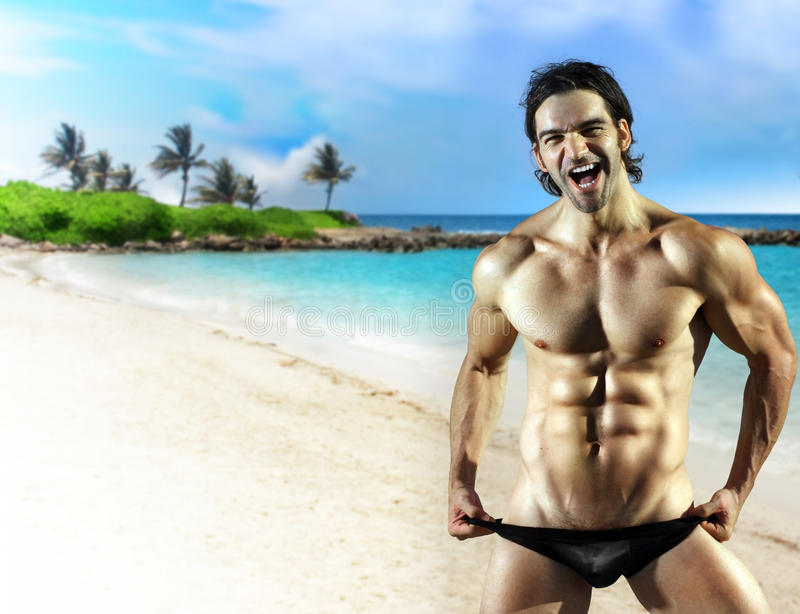 Big smile male fitness model stock images
