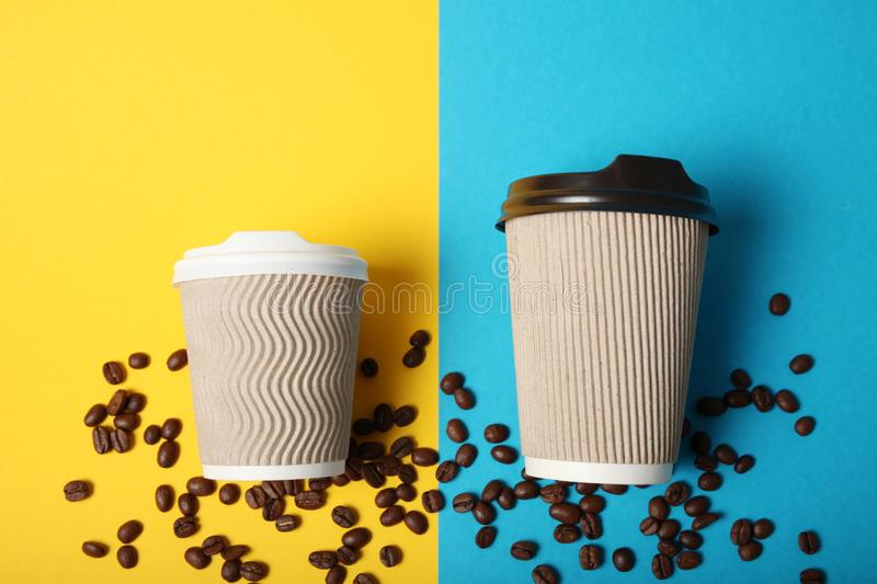 Big and smile takeout coffee drink. Breakfast latte.  stock images