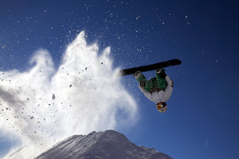 Big snowboard jump stock photography