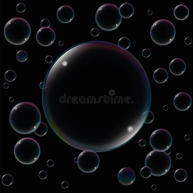 Big Soap Bubble Black vector illustration