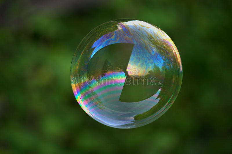 Big Soap Bubble On Green Royalty Free Stock Photo