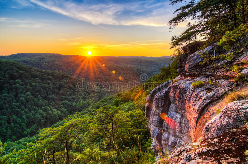 Big South Fork River gorge, sunset, Tennessee. Summer sunset, Big South Fork of the Cumberland River as seen from the East Rim in the Big South Fork National stock images