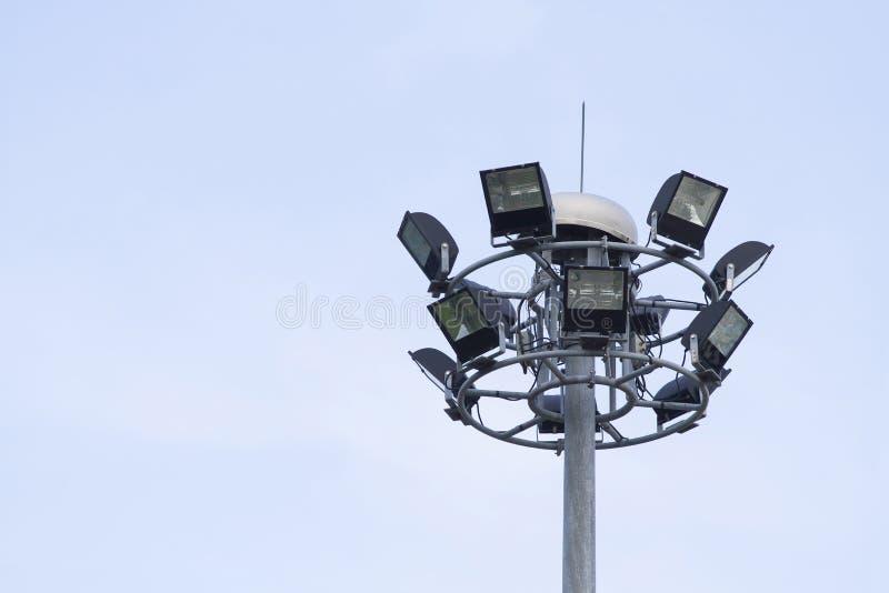 Big spotlight pole. On blue sky background royalty free stock images