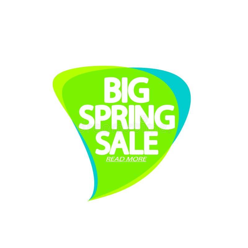 Big Spring Sale, bubble banner design template, discount tag, app icon, vector illustration stock illustration