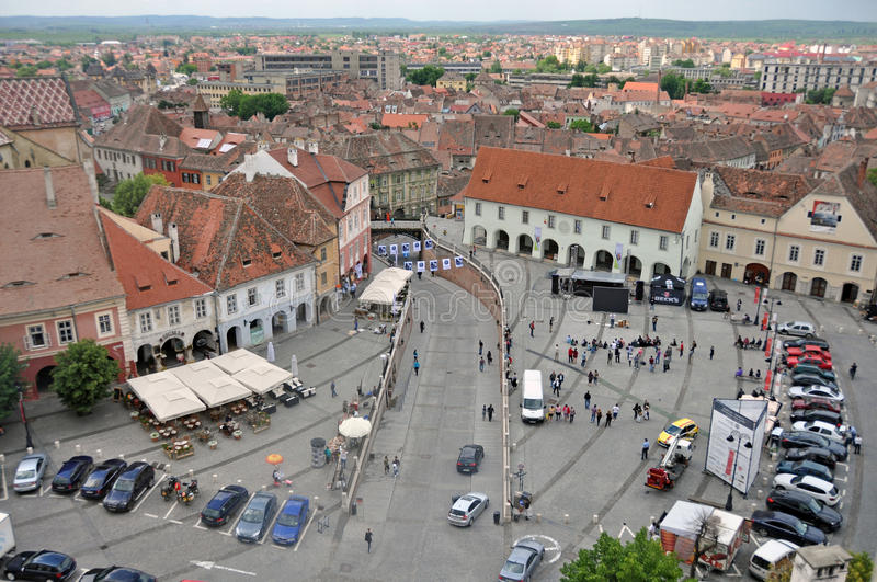 Big square. Sibiu city - big square - in middle Romania, Transylvania land is now host of International Festival of Theater May 25th - June 3rd 2012 royalty free stock photography