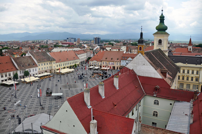 Big square aerial. Sibiu city - big square - in middle Romania, Transylvania land is now host of International Festival of Theater May 25th - June 3rd 2012 royalty free stock photography