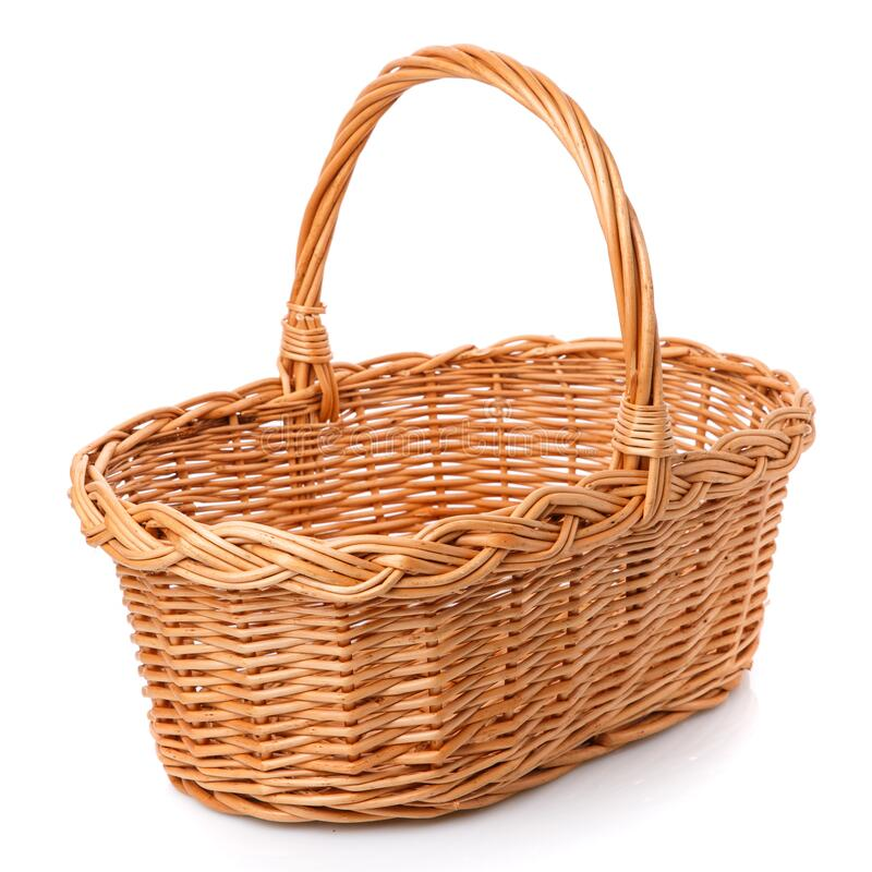Big square brown wicker basket on a white background stock photos