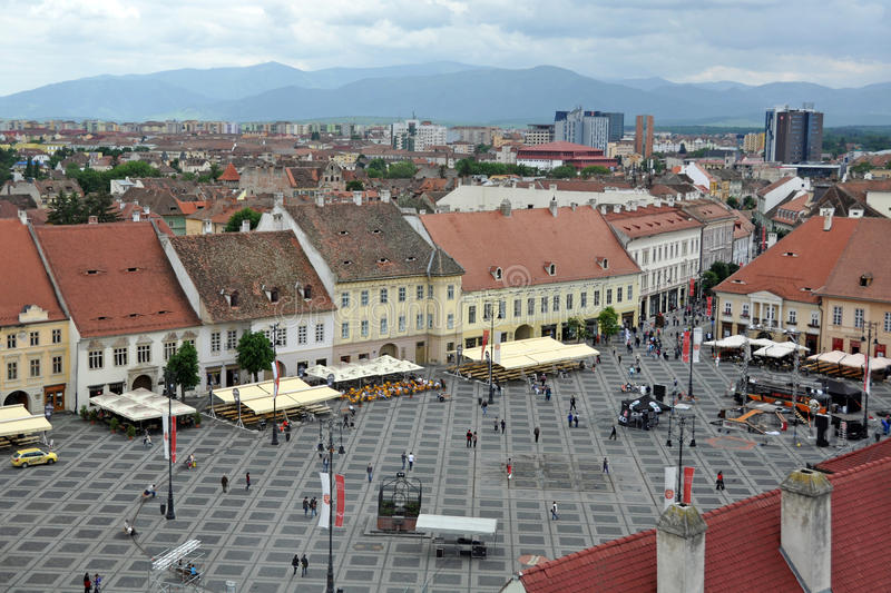 Big square panorama. Sibiu city - big square - in middle Romania, Transylvania land is now host of International Festival of Theater May 25th - June 3rd 2012 royalty free stock image