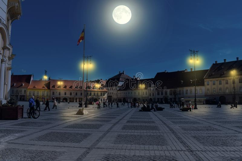 The Big Square or Piata Mare in Sibiu Hermanstadt at night.  royalty free stock photography