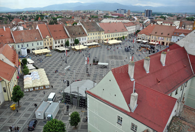 Big square view. Sibiu city - big square - in middle Romania, Transylvania land is now host of International Festival of Theater May 25th - June 3rd 2012 stock image