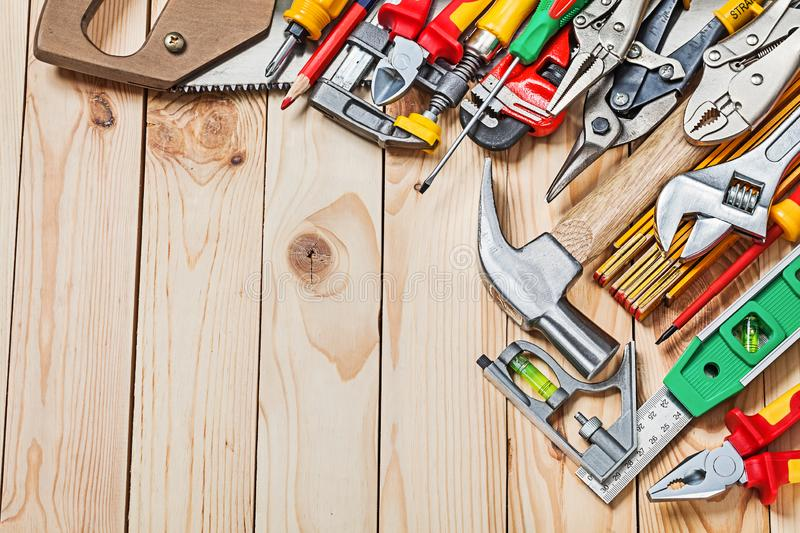 Big sset of construction tools on wood boards stock image