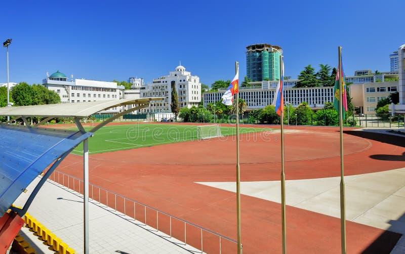 Big stadium of the sports school. stock photo