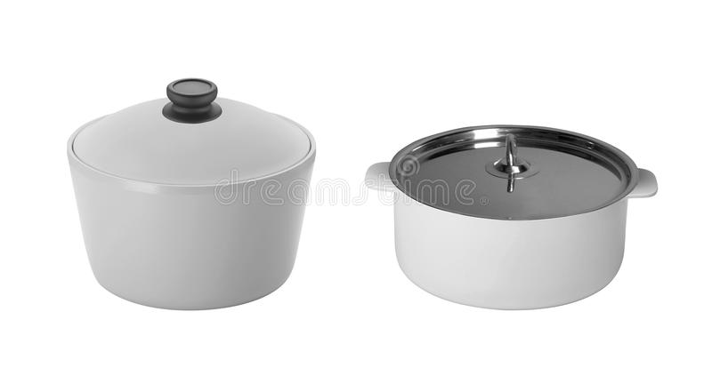 Big stainless steel saucepans isolated stock images