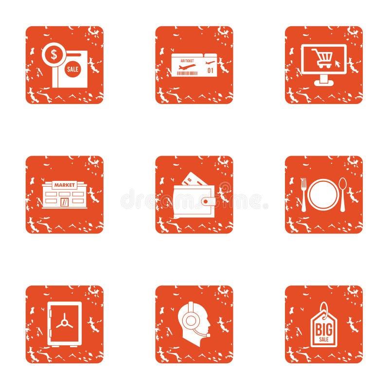 Big startup icons set, grunge style stock illustration