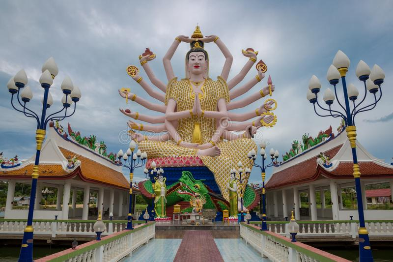 Big Statue of Shiva many hands in Wat Plai Laem Temple on Koh Samui island in Thailand royalty free stock images