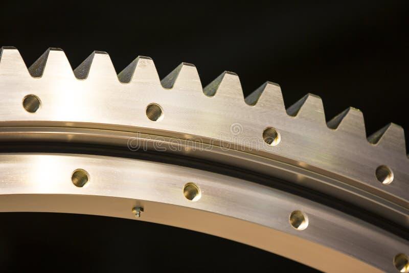 Big steel gear. Shot close-up photo royalty free stock photo