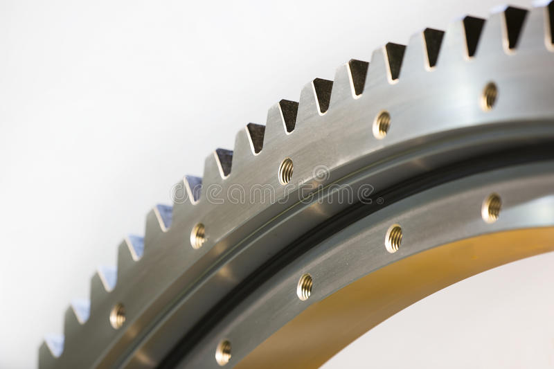 Big steel gear shot. Close-up photo royalty free stock photography