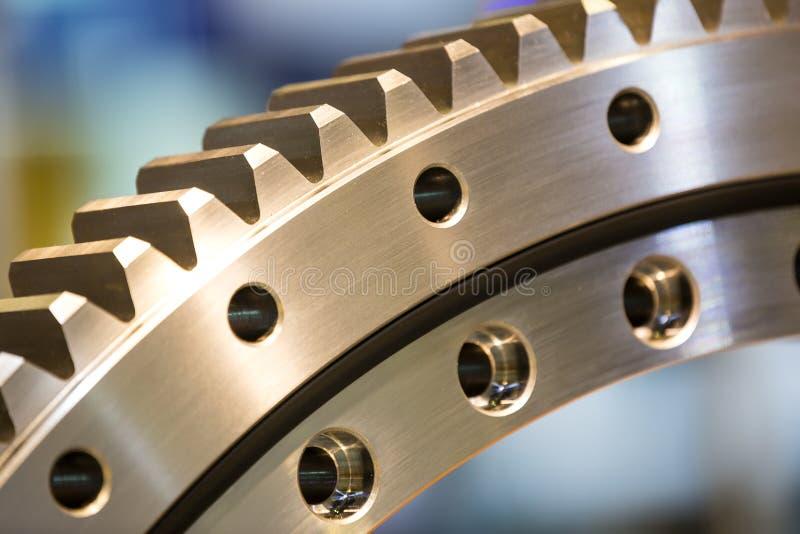 Big steel gear. Shot close-up photo Metallic stock images