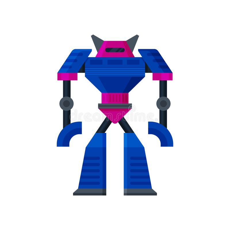 Big steel pink-blue transformer standing. Artificial intelligence. Metal humanoid robot. Flat vector icon royalty free illustration