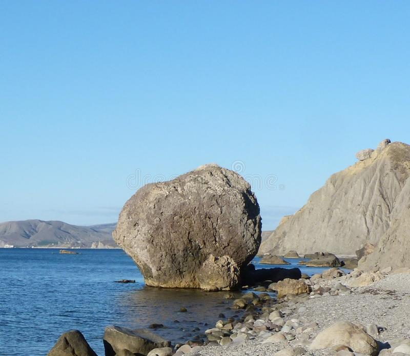 Big stone on the Black Sea. Daytime landscape Big stone on the Black Sea coast. Krasnodar region stock photos