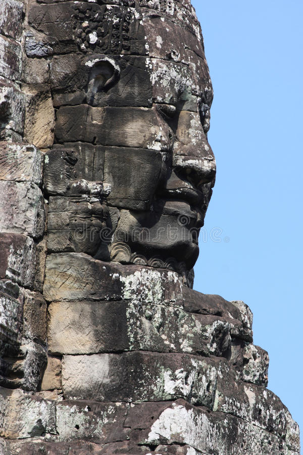 Big Stone Faces of Bayon Temple in Angkor