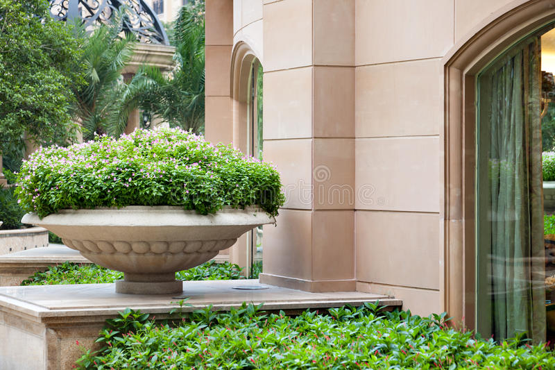 Big stone flowerpot in garden. Big stone park/garden flowerpot with ornament and evergreen plant in garden royalty free stock photos