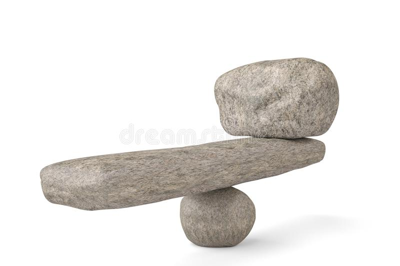 Big stone stability balancing stones on white background.3D illustration. stock illustration