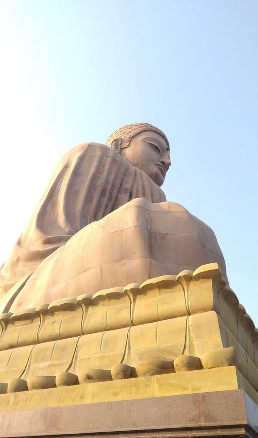 Big stone statue of Buddha Bodhgaya India stock image