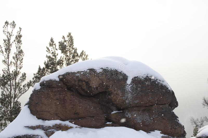 Big stone in winter siberian forest stock photography
