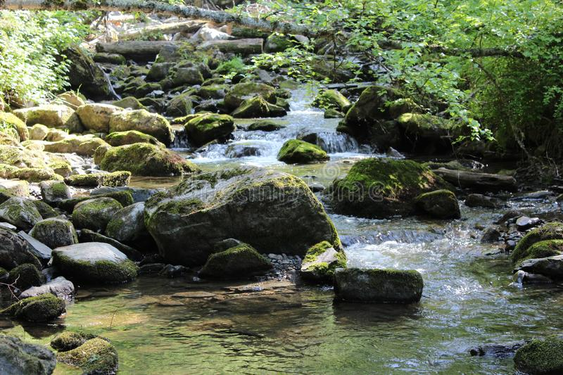 Big stones in water. Along the entire line of the river lies an infinite number of stones royalty free stock photos